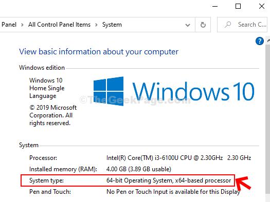 Proprietà del sistema Tipo di sistema Sistema operativo a 64 bit Processore basato su X64