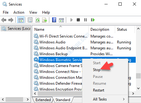 Servizio biometrico Windows Fare clic con il pulsante destro del mouse su Stop