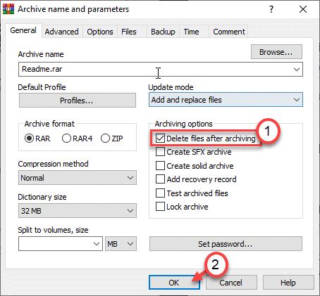 Elimina i file dopo l'archiviazione