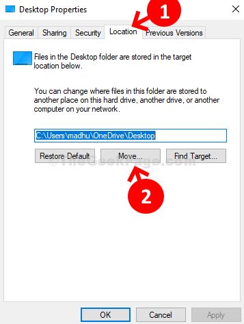 Spostare la scheda Posizione delle proprietà del desktop