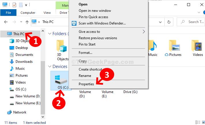 File Win + E Esplora le proprietà di questa unità Pc C.