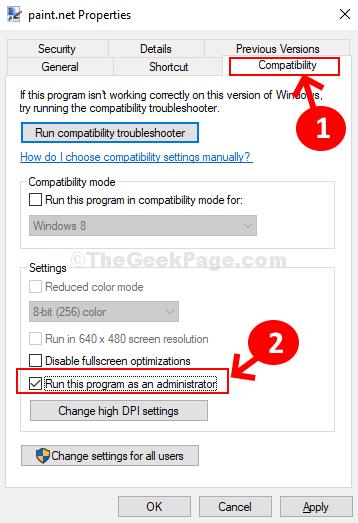 Compatibilità delle proprietà Esegui questo programma come amministratore Applica Ok