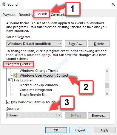 Finestra Suoni Scheda Suoni Eventi programma Controllo account utente Windows Suoni Nessuno Applica Ok
