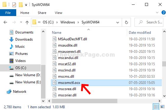 Copia Mscomctl.ocx nella cartella Syswow64