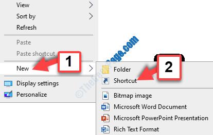 Desktop Fare clic con il pulsante destro del mouse su Nuovo collegamento