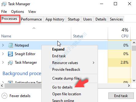 Scheda Processi di Task Manager Fare clic con il pulsante destro del mouse sull'attività Vai ai dettagli