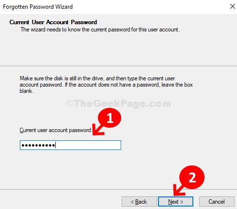 Password per l'account utente corrente Avanti