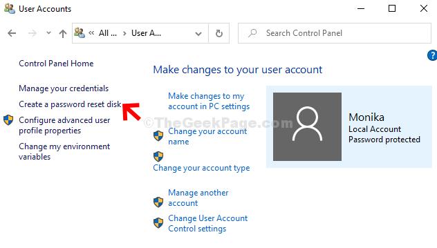 Account utente Fare clic su Crea disco di reimpostazione della password