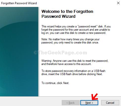 Password dimenticata guidata Avanti