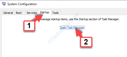 Scheda home di Msconfig Aprire Task Manager