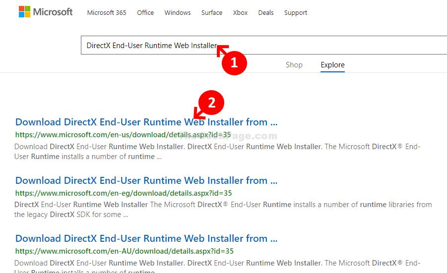 Microsoft Download Center Home Cerca Directx Utente finale Runtime Web Installer Primo risultato