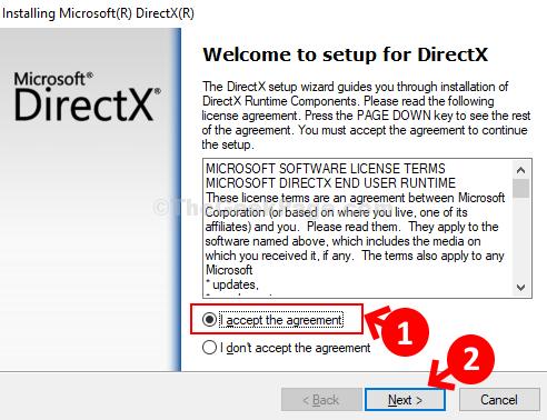 Programma di installazione Fare clic sul pulsante di opzione Accordo di accettazione Avanti