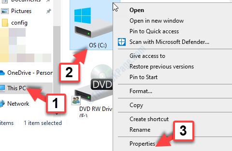 File Explorer Win + E Questa unità Pc C Fare clic con il pulsante destro del mouse su Proprietà