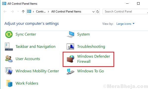 Apri il firewall di Windows Defender