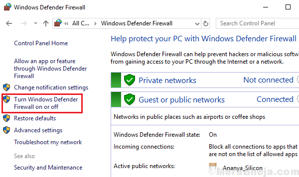 Abilita o disabilita il firewall di Windows Defender