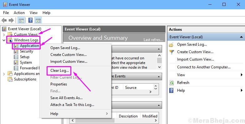 Cancella visualizzatore eventi registro