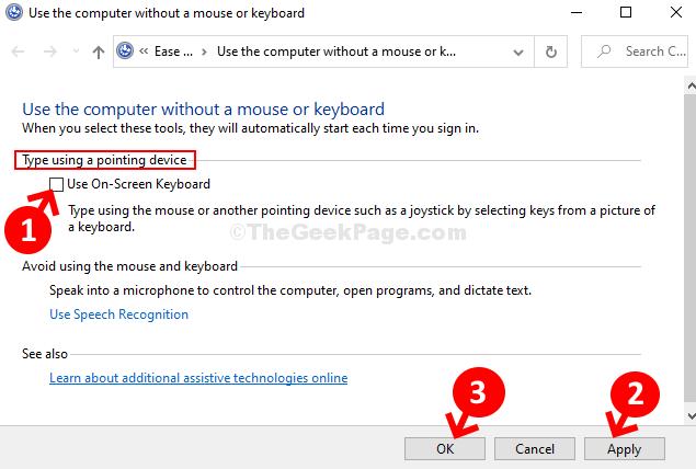 Scrivere con un dispositivo di puntamento Selezionare Usa l'opzione della tastiera su schermo Applica OK