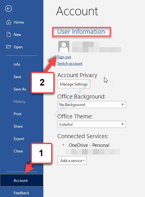 Scheda File Account Informazioni utente Esci da tutti gli account