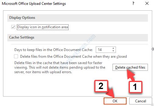 Impostazioni Centro di caricamento di Microsoft Office Elimina file memorizzati nella cache Ok