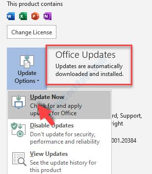Aggiornamenti di Office dalla scheda File di MS Word Aggiorna ora l'account