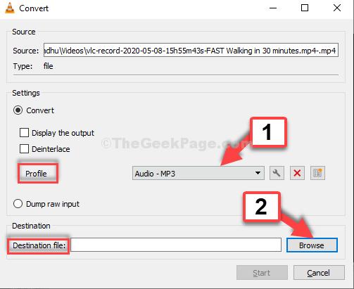 Converti file audio Mp3 di destinazione dal profilo di navigazione