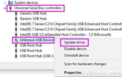 Aggiorna unità dispositivo USB sconosciuta