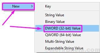 Regedit Nuovo valore Dword a 32 bit