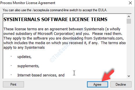 Contratto di licenza di Process Monitor Accetto