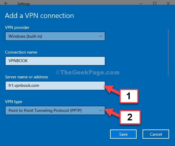 Nome o indirizzo del server Incolla Indirizzo del server Tipo VPN