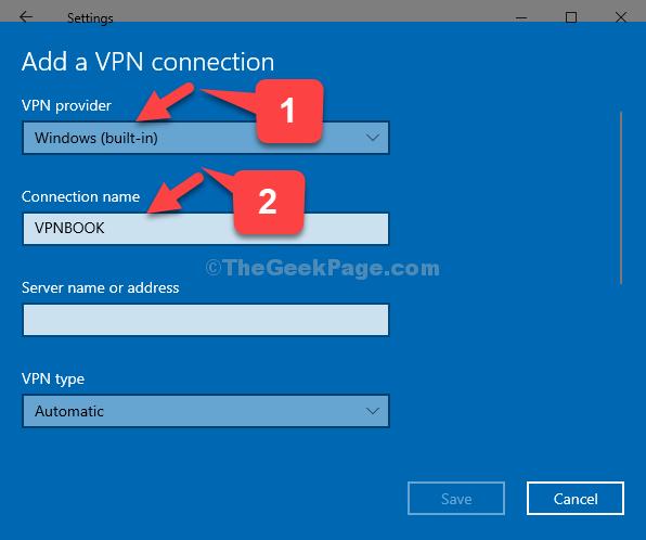 Aggiungi una connessione VPN Provider VPN Windows (integrato) Nome connessione Vpnbook