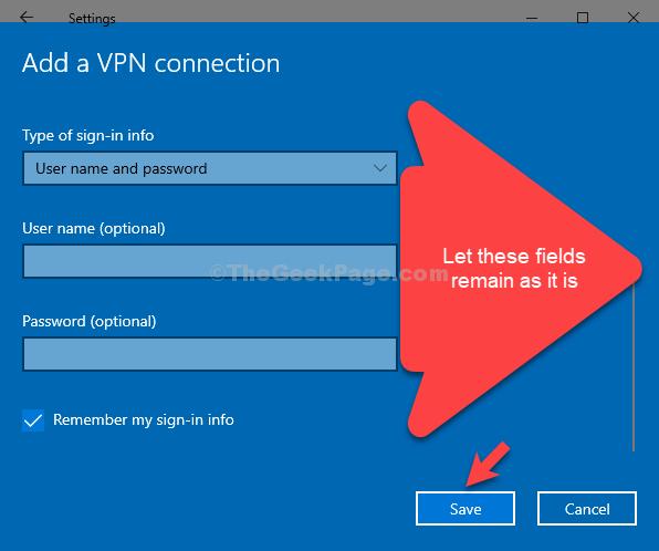 Tipo di informazioni di accesso Nome utente La password rimane invariata