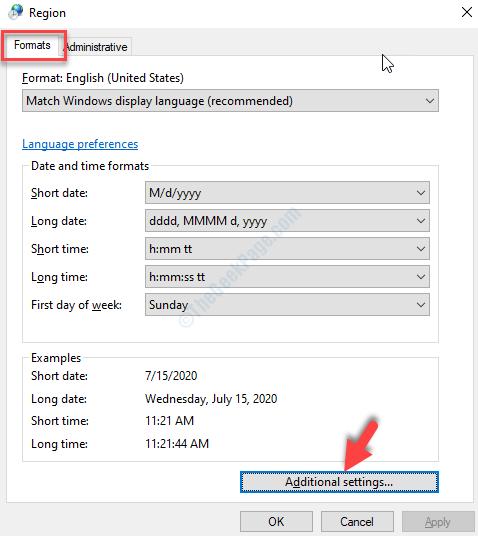 Impostazioni aggiuntive per la scheda Formati regione