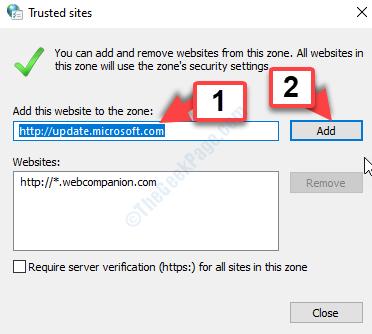 Aggiungi questo sito web all'area Aggiungi indirizzi uno per uno Fare clic su Aggiungi ogni volta