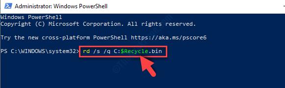 Windows Powershell in modalità amministratore Esegui il comando Invio