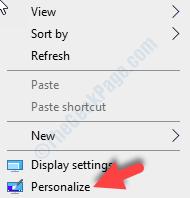 Area desktop vuota Fare clic con il pulsante destro del mouse su Personalizza