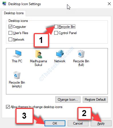 Impostazioni icona sul desktop Cestino Deseleziona Applica OK