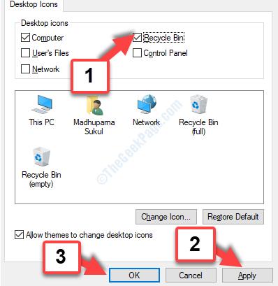 Impostazioni icona del desktop Cestino Selezionare Applica OK