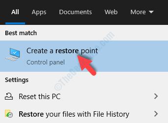 Desktop Avvia ricerca Ripristina Crea un punto di ripristino