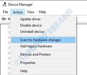 Scansiona le modifiche hardware
