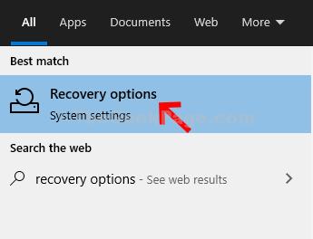 Avviare la ricerca Opzioni di ripristino Fare doppio clic