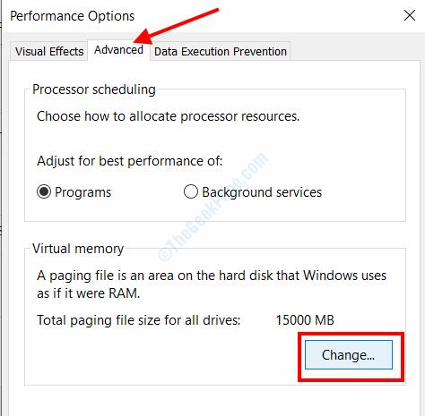 Cambia la memoria virtuale