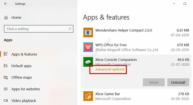 Opzione avanzata Xbox