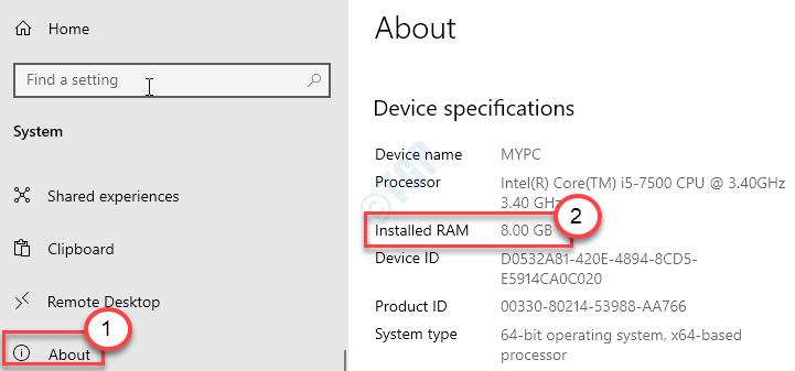 Informazioni su Ram Min installato