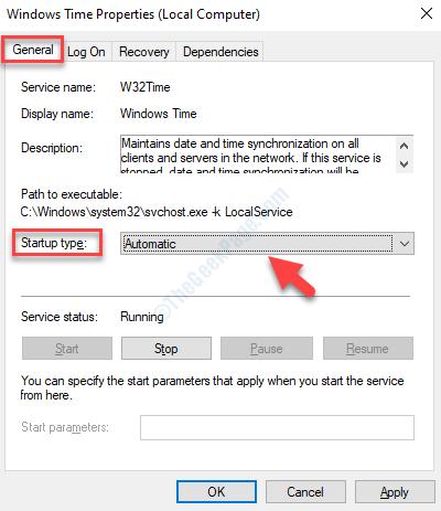 Proprietà ora di Windows Scheda Generale Tipo di avvio Automatico