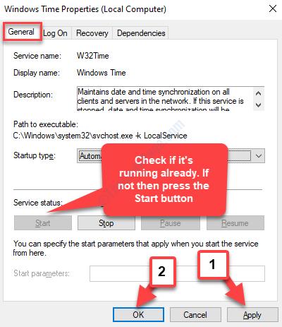 Proprietà ora di Windows Scheda Generale Stato del servizio in esecuzione Se non avviato Applica OK