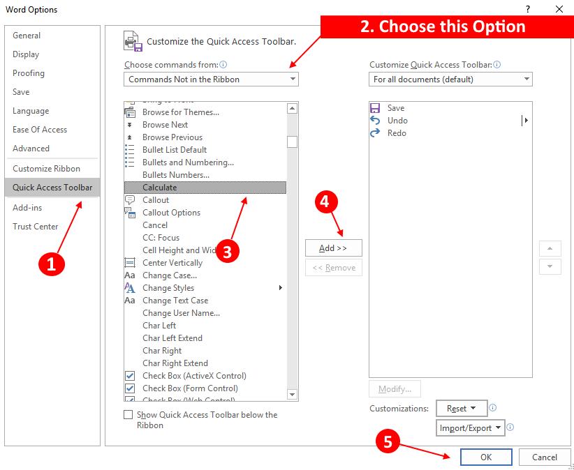 Ms Word Calculator Opzione min
