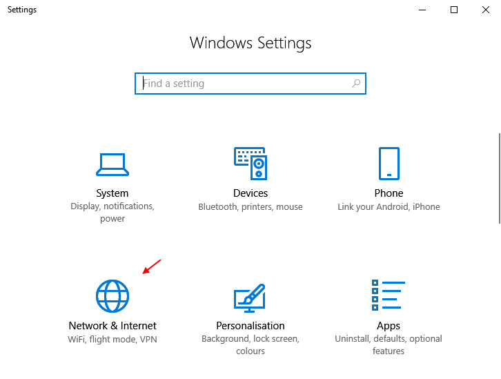 Rete Internet Windows 10