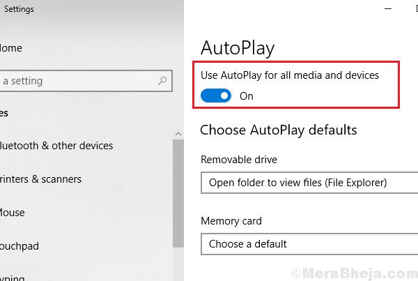 Disattiva la riproduzione automatica tramite le impostazioni di Windows 10