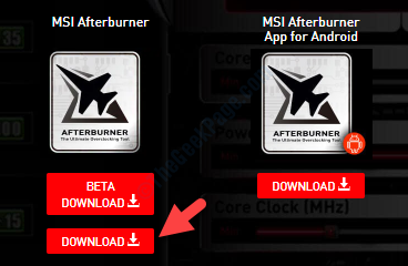 Link ufficiale di Msi Afterburner Scarica il download