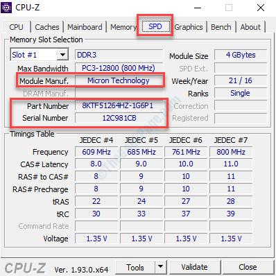 Scheda Cpu Z Spd Controllare Marca Modello Parte e numero di serie